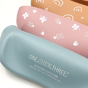 One Chew Three | Silicone Catch Bib - Caramel Rainbow