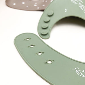 One Chew Three | Silicone Catch Bib - Sage Foliage