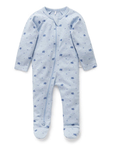 Pure Baby | Zip Growsuit - Blue Leaf