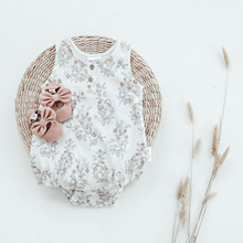 Load image into Gallery viewer, Aster & Oak | Floral Bubble Romper - White Alyssum