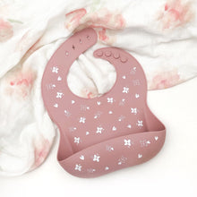 Load image into Gallery viewer, One Chew Three | Silicone Catch Bib - Floral Rose