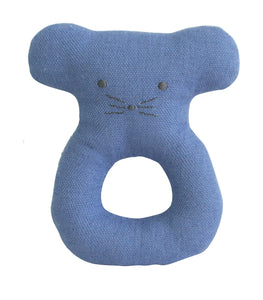 Linen Mouse Ring Rattle - Blue