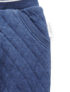 Pure Baby | Quilted Track Pants - Navy