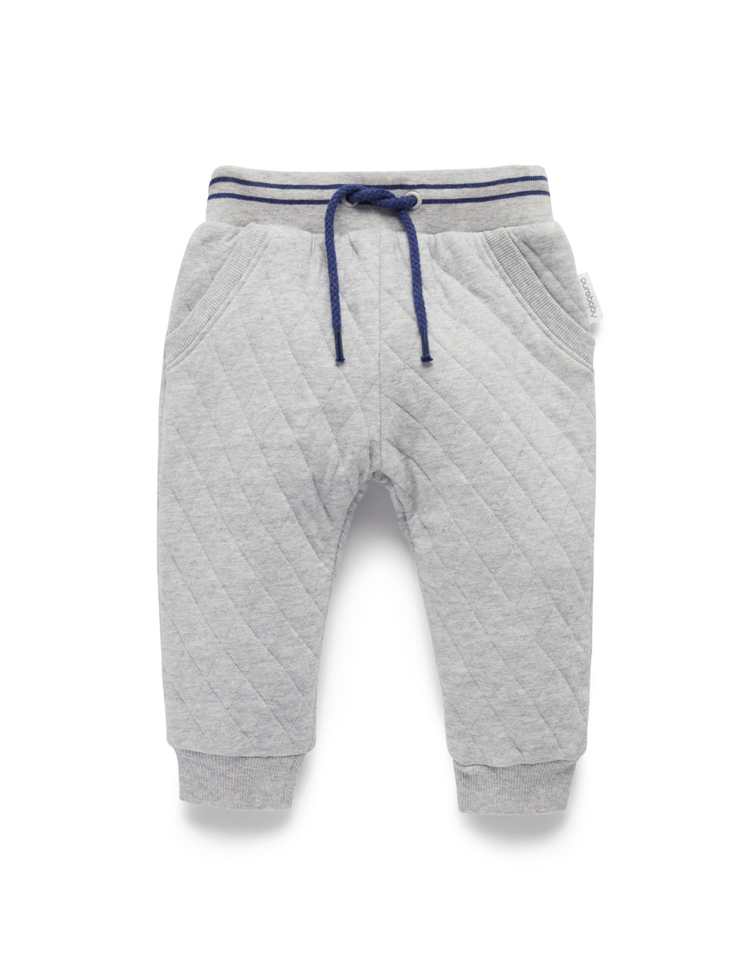 Pure Baby | Quilted Track Pants - Grey Melange