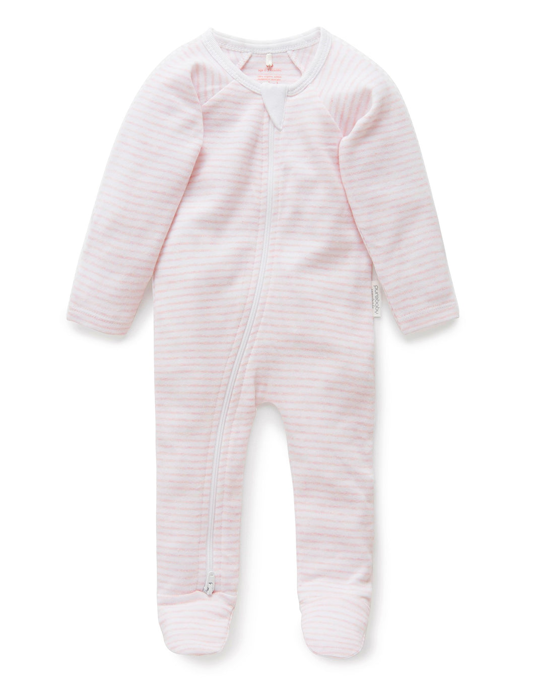 Pure Baby | Zip Growsuit - Pink Stripe