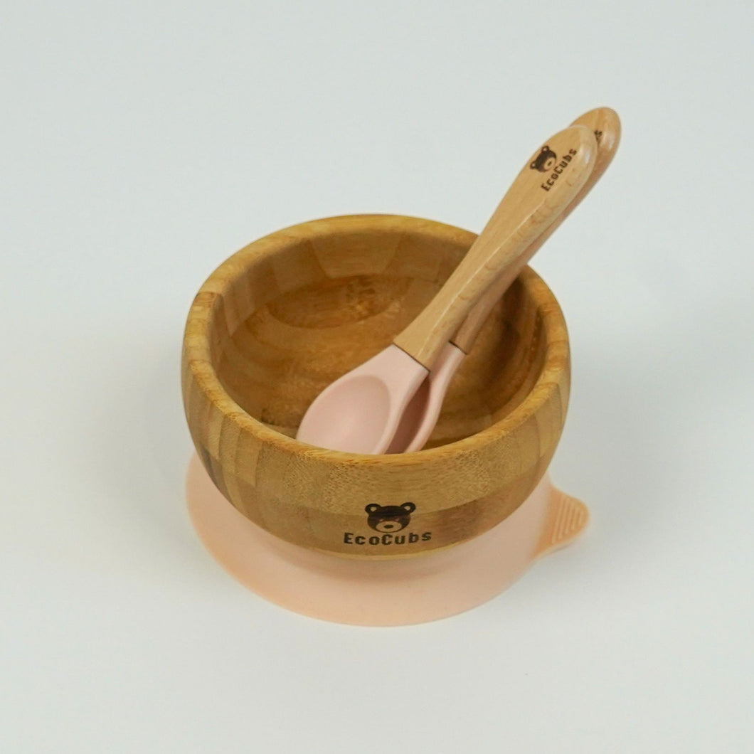 Eco Cubs | Bamboo Suction Bowl - Bowl + Spoon Set Pink