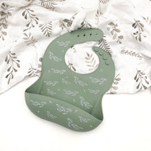 Load image into Gallery viewer, One Chew Three | Silicone Catch Bib - Sage Foliage