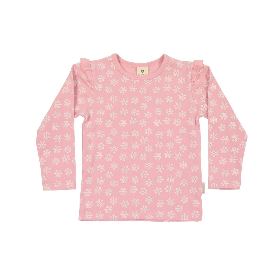 Korango | Snowflakes Long Sleeve Top - Pink