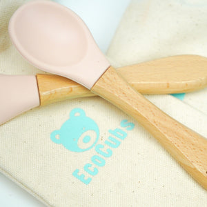 Eco Cubs | Spoons Duo Set - Beechwood + Silicone Pink