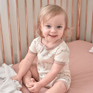 Aster & Oak | Tree of Life Zip Romper - Blush