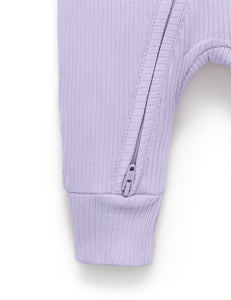 Pure Baby | Rib Zip Growsuit - Lilac