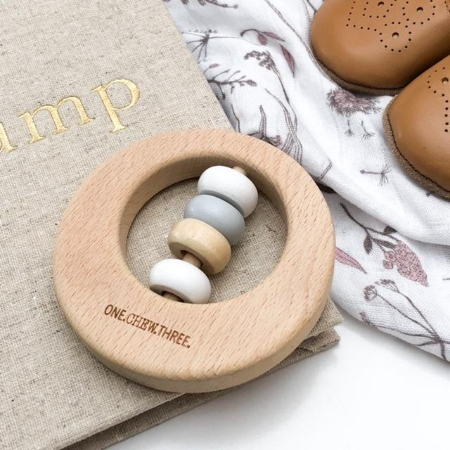 One Chew Three | Premium Beech Wood Rattle Teether Disc