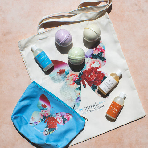 Mirai Clinical Goodie Bag Butterfly Tote Bag 3 Bath Bombs Mini Cleansing Kit