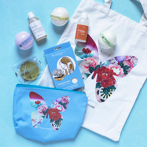 Goodie Bag of bath bombs and cleansing kit, subject to change.