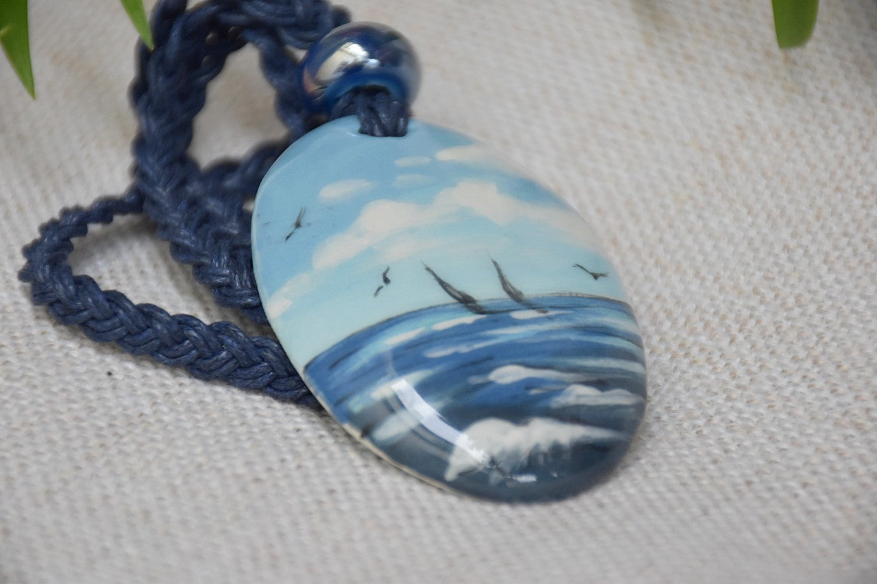 Ceramic Oval Necklace - Lillie Ceramics