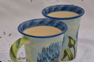 Hand Thrown & Handpainted Ceramic Mug in Stoneware, 375 ml - Lillie Ceramics