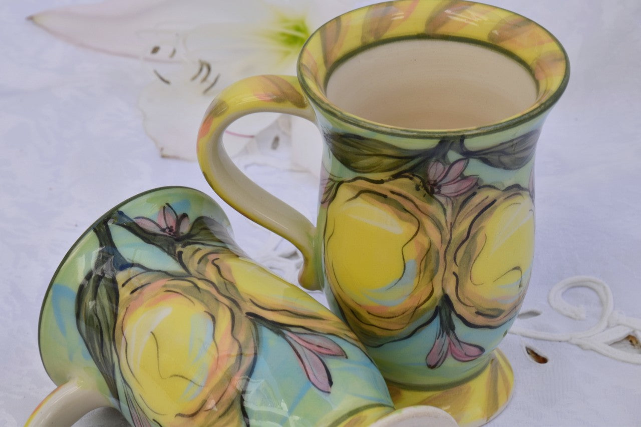 Hand Crafted & Hand Decorated Ceramic Mug with Foot in Stoneware, 180 ml - Lillie Ceramics