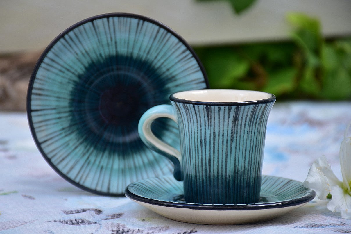 Hand Thrown & Hand Decorated Ceramic Espresso Cup with Saucer in Stoneware, 60 ml - Lillie Ceramics