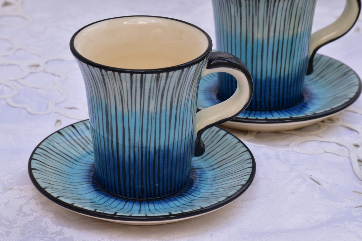 Hand Thrown & Hand Decorated Ceramic Coffee Cup with Saucer in Stoneware, 110 ml - Lillie Ceramics