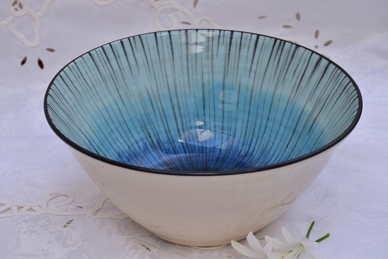 Hand Thrown Ceramic Salad Bowl in Stoneware - Lillie Ceramics