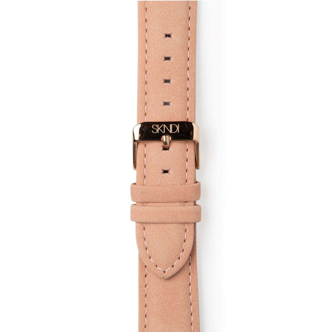 Peach Leather Strap - Rose Gold Buckle