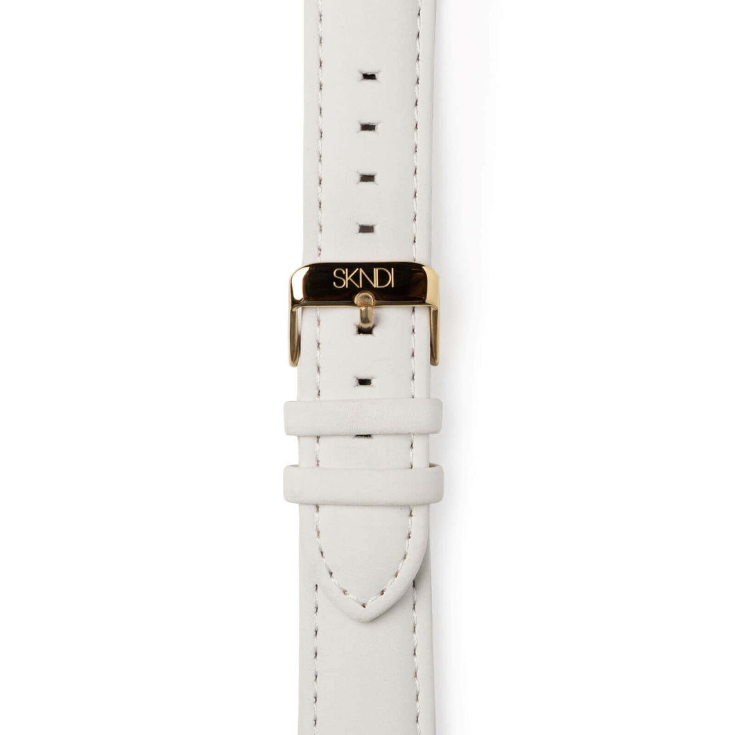 White Leather Strap - Gold Buckle