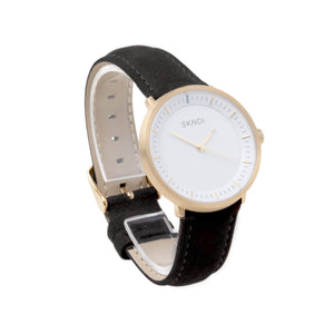Black Leather Strap - Gold Buckle