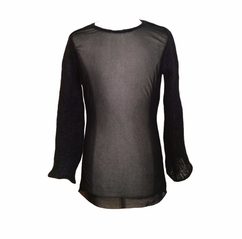 JEAN PAUL GAULTIER black mesh top with wool sleeves and collar