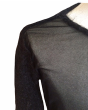 Load image into Gallery viewer, JEAN PAUL GAULTIER black mesh top with wool sleeves and collar