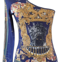 Load image into Gallery viewer, ROBERTO CAVALLI one sleeve dark princess top