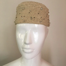 Load image into Gallery viewer, EMPORIO ARMANI 90s Cream cotton round hat with transparent white pearls