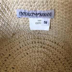EMPORIO ARMANI 90s Cream cotton round hat with transparent white pearls