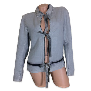 PRADA 99 light grey Linen Zipper Detail Tie Front Jacket