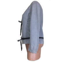 Load image into Gallery viewer, PRADA 99 light grey Linen Zipper Detail Tie Front Jacket