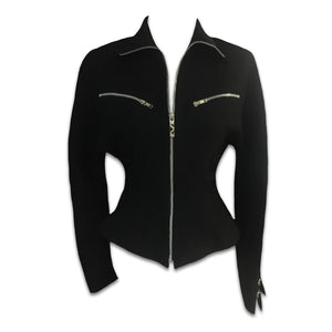 THIERRY MUGLER black loops zip jacket