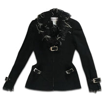 Load image into Gallery viewer, THIERRY MUGLER Ostrich feathers black wool tailored jacket with belt and front zip