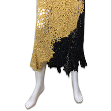 Load image into Gallery viewer, Black and dark yellow crochet dress