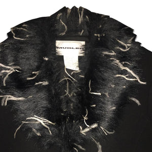 THIERRY MUGLER Ostrich feathers black wool tailored jacket with belt and front zip