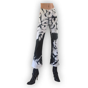 MISS SIXTY grafic black and white flare trouser