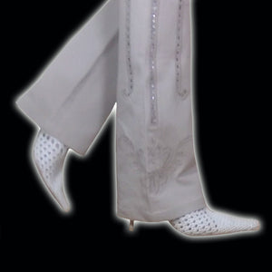 ROBERTO CAVALLI light beige flare pant with swarwoski strass