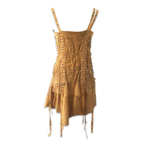 PLEIN SUD 90s Yellow string leather dress
