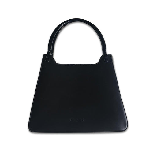 PRADA 90s Black mat leather bag with hard handle