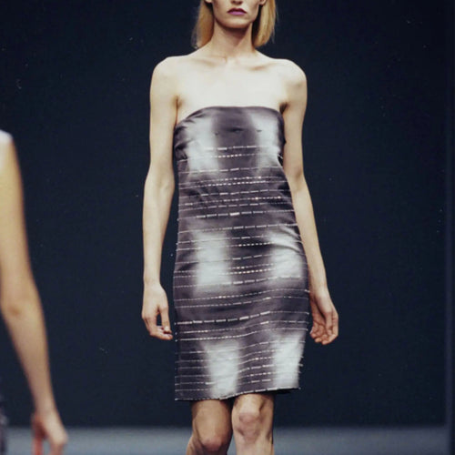 PRADA SS1998 Beaded strapless dress