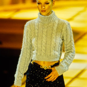 GIANNI VERSACE 1994 Iconic Light Blue shiny turtleneck