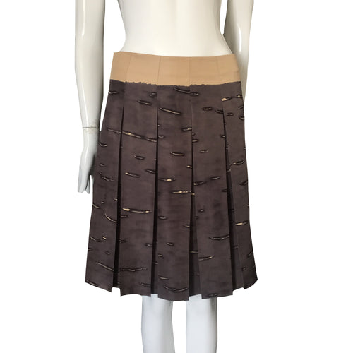 PRADA Silk Pleated Blue grey skirt with beige forms