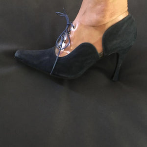 CHANTAL THOMASS SS1992 Dark Blue suede lace up heels