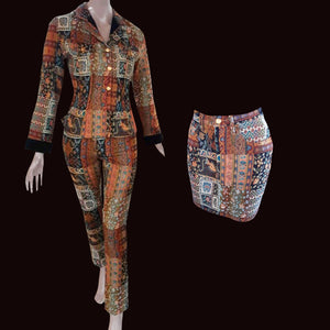 KENZO 90s Patchwork set Skirt+ Trouser+ jacket