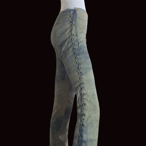 PLEIN SUD 2000s Leather Tie Dye Low waist flare pant/ Lace up pant