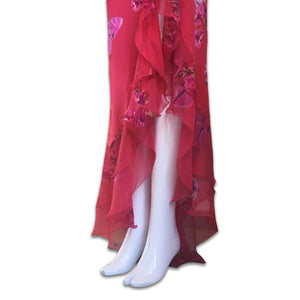 EMANUEL UNGARO FW 2004 Cherry silk set with printed flowers and butterflies