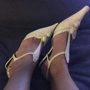 PRADA FW 2000 Beige leather kitten heel with rose